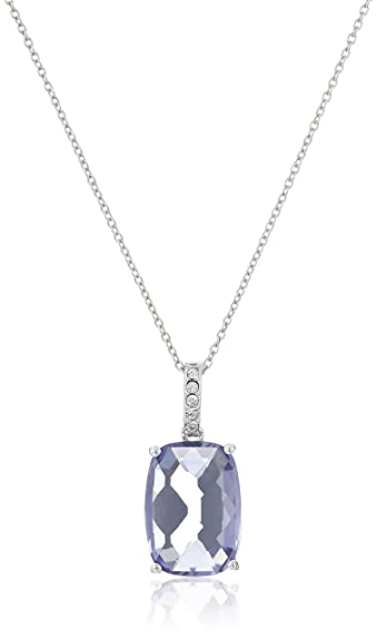 fe9f683ee Amazon.com: Sterling Silver Swarovski Elements Tanzanite Color Crystal and  Clear Crystal Pendant Necklace, 18