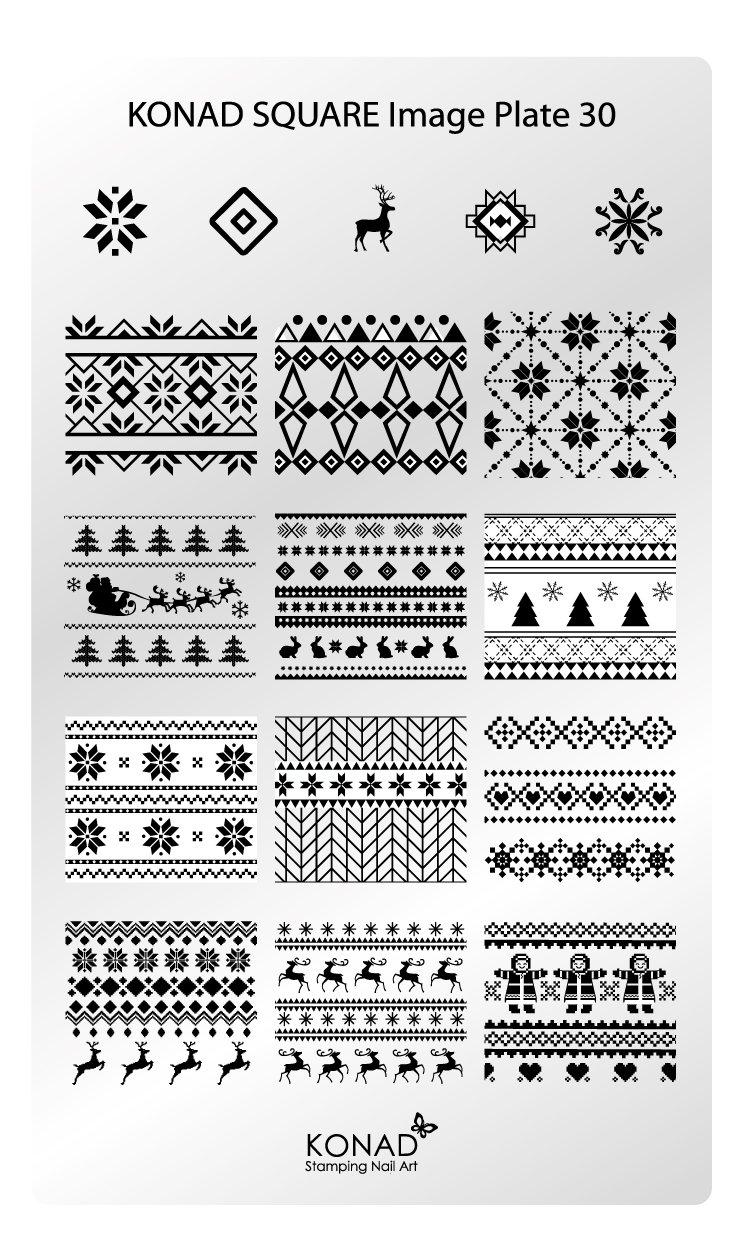 Original Konad esmaltes Square Image Plantilla Plate 30 Nail Art Navidad X-Mas –  Retro abstracto, diseñ o de rayas diseño de rayas RM Beautynails