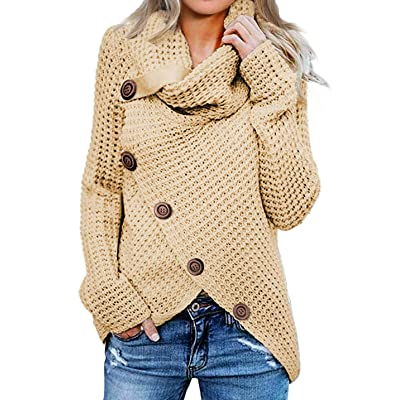 Asvivid Womens Button Turtle Cowl Neck Asymmetric Hem Wrap Pullover Sweater Tops: Clothing