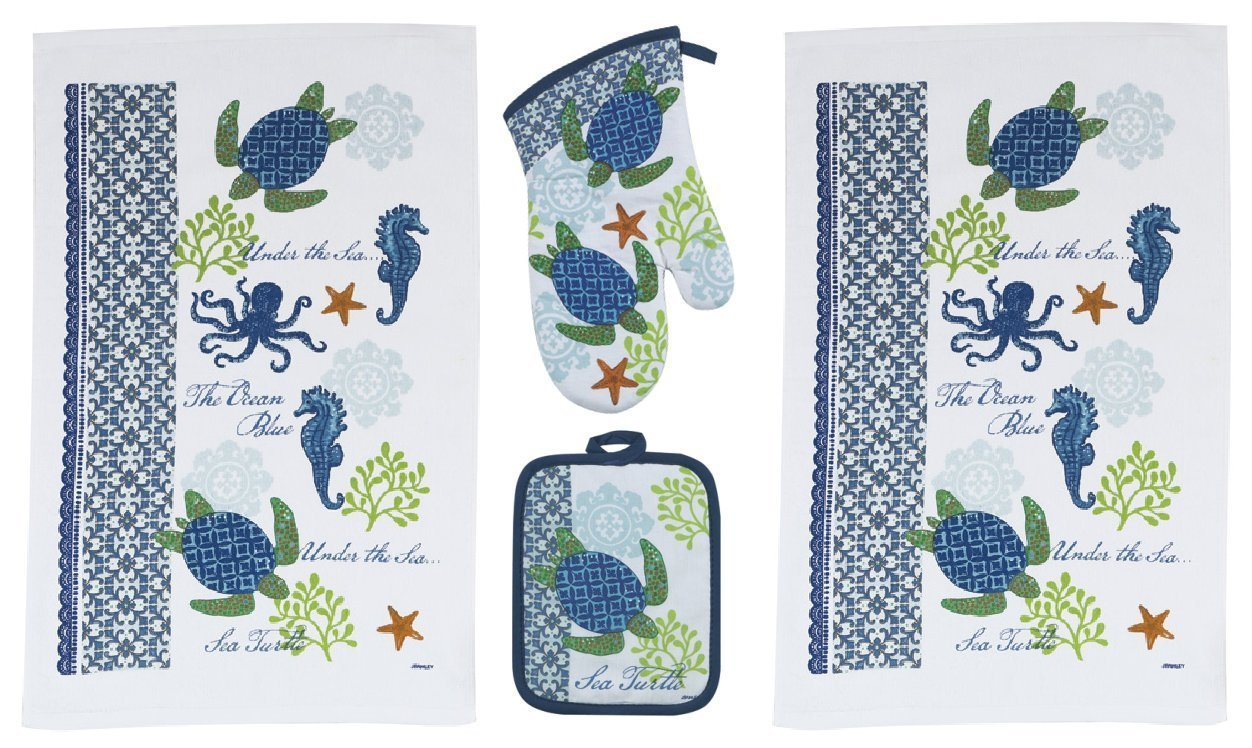 Kay Dee 4 Piece Sea Turtle Kitchen Set - 2 Terry Towels, Oven Mitt, Potholder,Blue