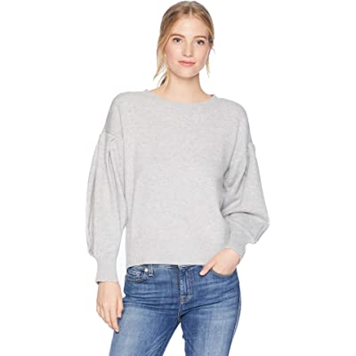 1.STATE Crew Neck Blouson Sleeve Sweater Light Heather Grey LG at Women's Clothing store