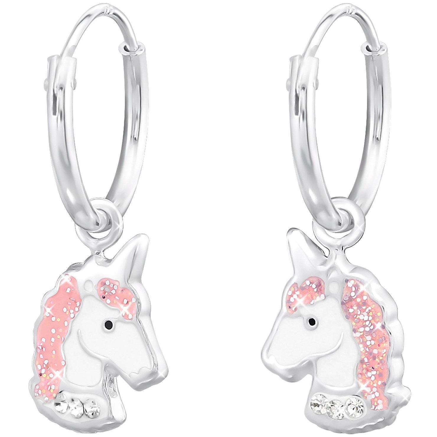 con cristales de color rosa y blanco de 23 x 8 mm Aros infantiles con colgante de unicornio para ni/ña de plata de ley 925 de Jayare