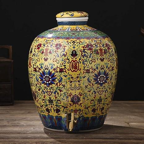 WMM-Barrels Barril de Vino de cerámica, Lata sellada de Sake ...