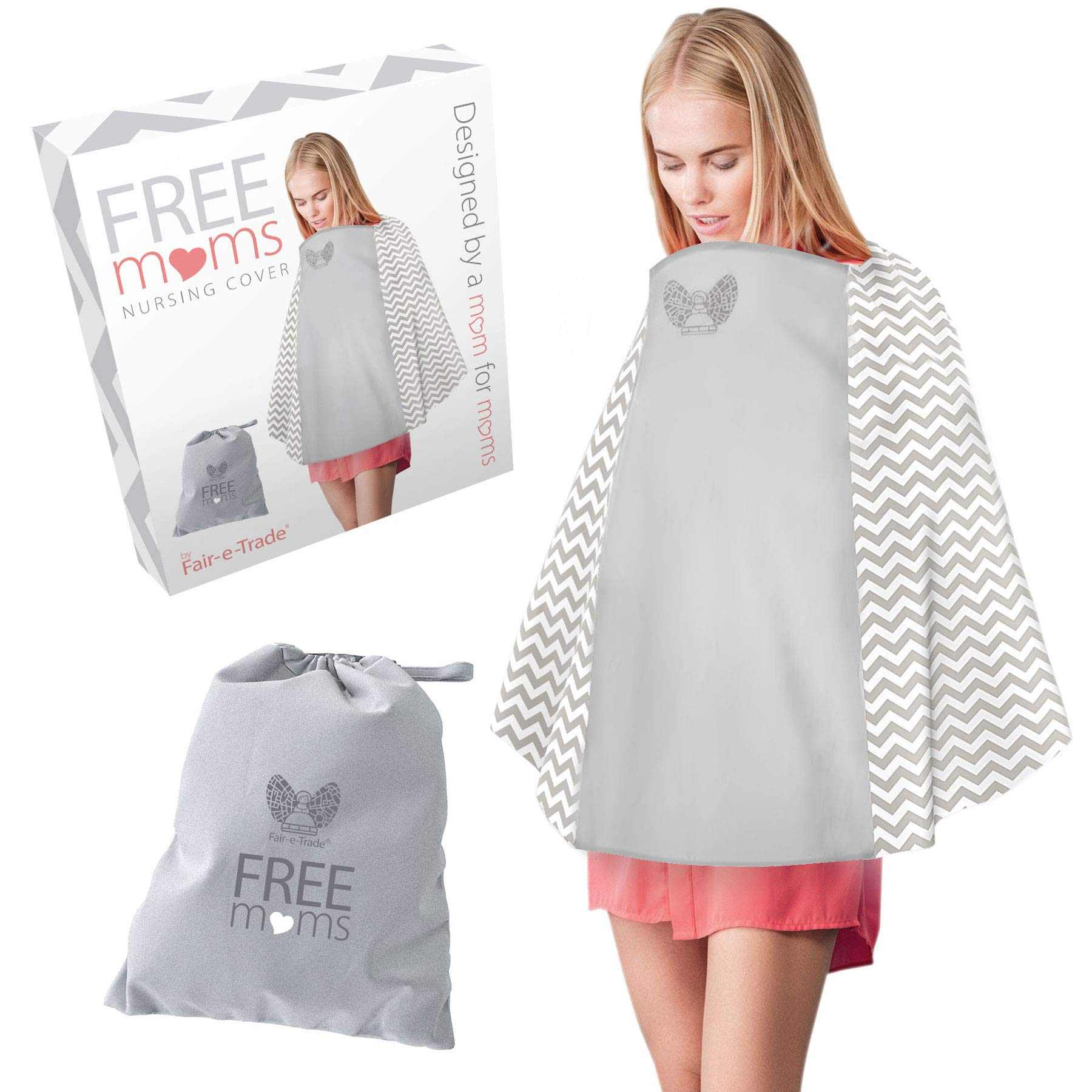360° Nursing Cover Poncho Style - Rigid Neckline Breastfeeding Cover with Carry Bag - Covers Fully - Soft Breathable Cotton to Fit All for Discreet Feeding in Public by Fair-e-Trade