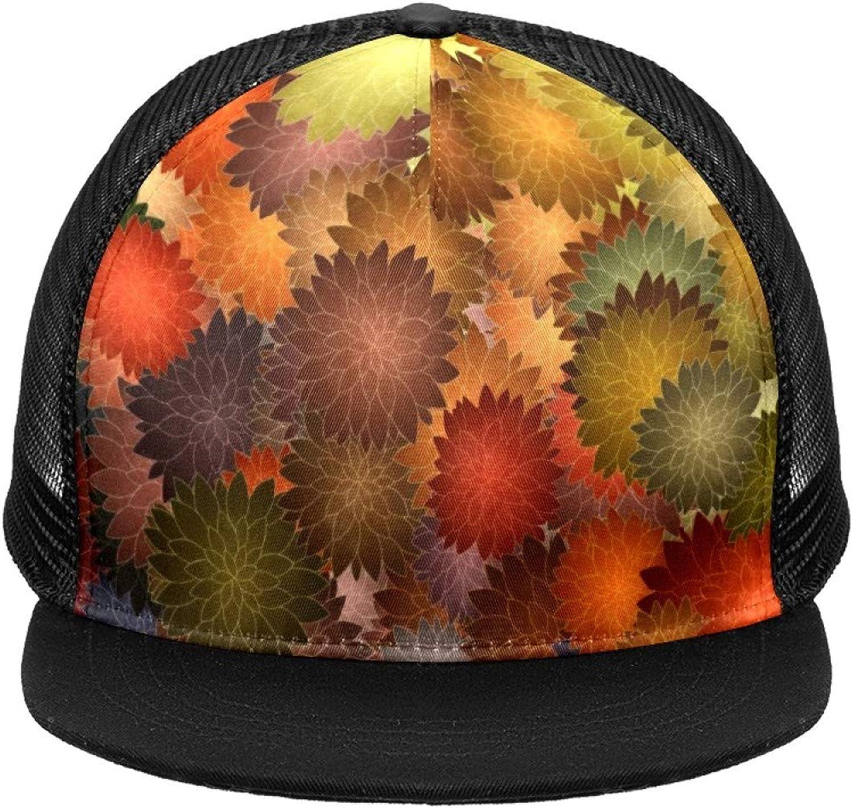 Flower Background Mesh Baseball Cap Black Trucker Hat for Men Women Summer Headgear Adjustable Mens Snap Backs Sun Hats Hip Hop Flat Brim Brimmed caps Sports Outdoors One Size Fits All