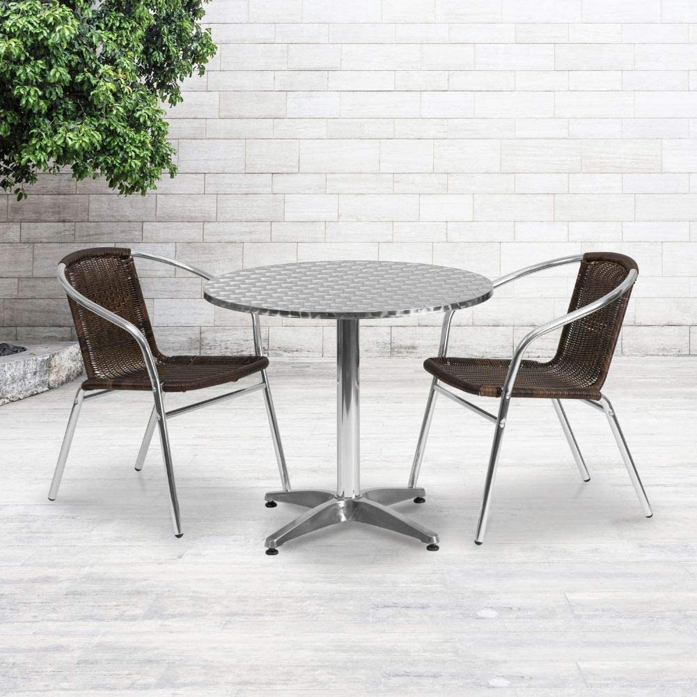 Flash Furniture 31.5'' Round Aluminum Indoor-Outdoor Table Set with 2 Dark Brown Rattan Chairs