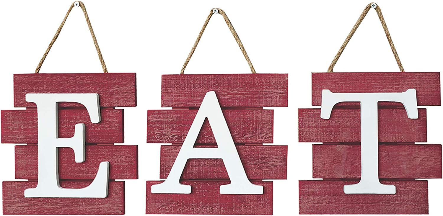 Barnyard Designs Eat Sign Wall Decor, Rustic Farmhouse Decoration for Kitchen and Home, Decorative Hanging Wooden Letters, Country Wall Art, Distressed Red and White, 24