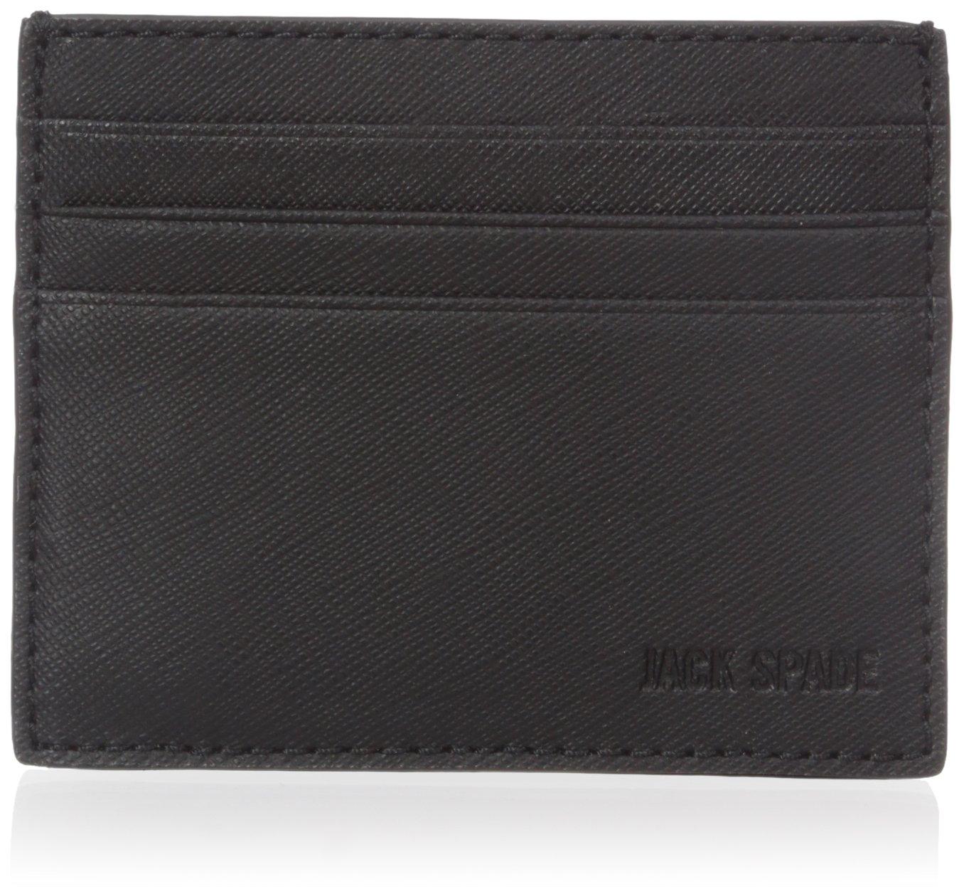 Jack Spade Men's Barrow Leather 6 Card Holder, black, One Size