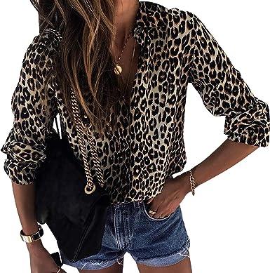 Camisa de Gasa Mujer Blusas Estampadas Leopardo Escote V Blusa Manga Larga Camisas Oficina Señora Top Camiseras Elegantes Camisetas Cuello V Blusones Blusa Vestir Formales Fiesta Largas: Amazon.es: Ropa y accesorios
