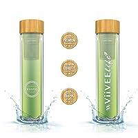 Viivee Life Tea-Bottle 2-Go 500ml Glasflasche Doppelwandig mit Edelstahl-Sieb für Tee Smoothies Eistee Kaffee etc. Trinkflasche mit Schutzhülle 100% BPA Free