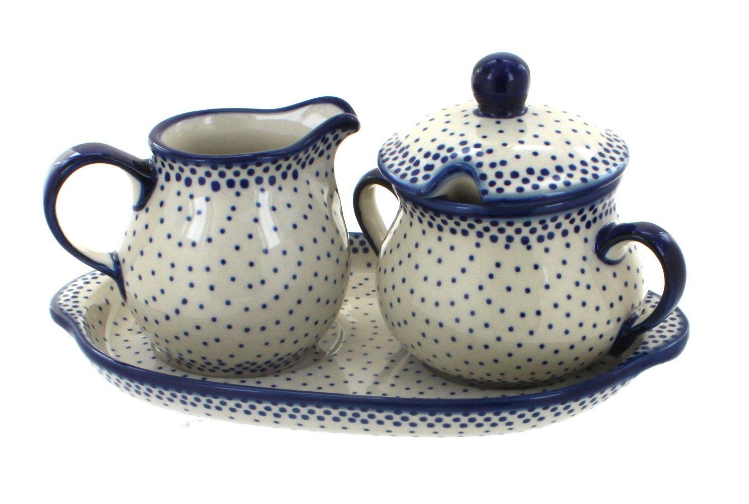 Blue Rose Polish Pottery Small Dots Sugar & Creamer with Tray