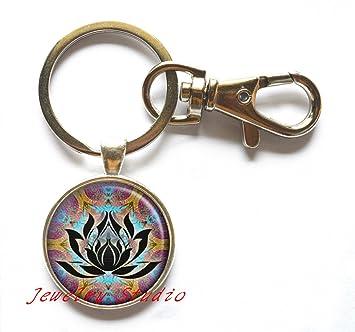 Lotus cristal llavero, llavero, diseño de flor de loto joyas ...