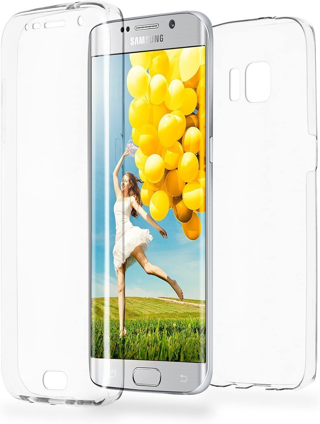 COPHONE® Funda Samsung Galaxy S6 Edge, Transparente Silicona 360°Full Body Fundas para Samsung Galaxy S6 Edge Carcasa Silicona Funda Case.