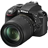 Nikon D3300 SLR-Digitalkamera (24 Megapixel, 7,6 cm (3 Zoll) TFT-LCD-Display, Live View, Full-HD) Kit inkl. AF-S DX 18-105mm VR-Objektiv schwarz