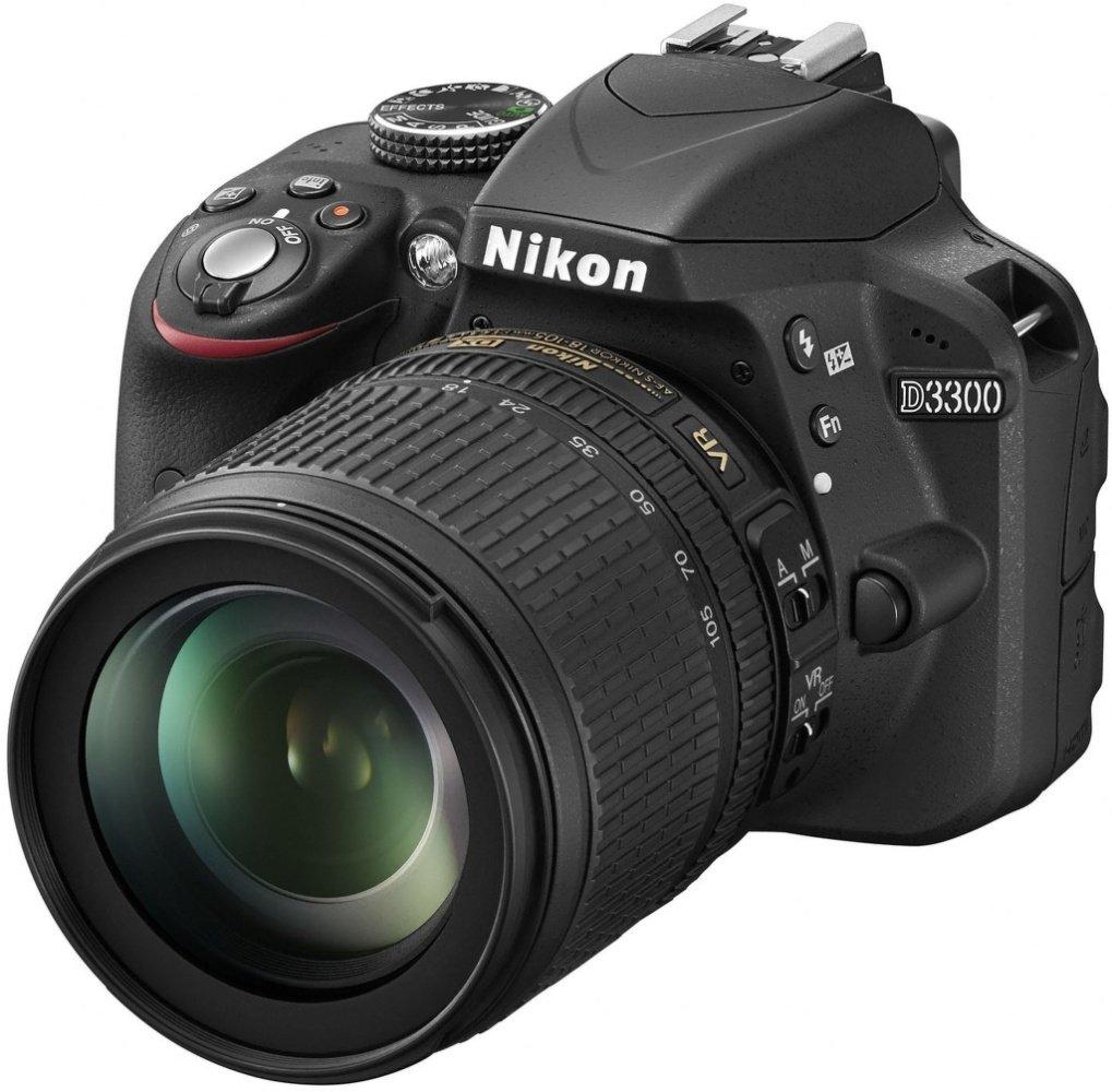 """Nikon D3300 - Cámara réflex digital de 24.2 Mp (pantalla de 3"""", estabilizador de imagen, zoom óptico de 5.8x, grabación de vídeo Full HD), negro – kit con objetivo AF-S DX 18-105 mm VR [Versión EU] product image"""