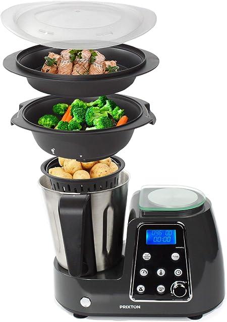 PRIXTON Kitchen Gourmet KG200 - Robot de Cocina Multifunción Programable con Accesorios, Acero Inoxidable: Amazon.es