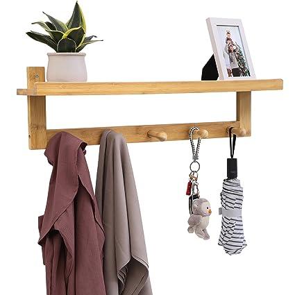SONGMICS Coat Hook Shelf With 5 Bamboo Hooks, Wall Mounted Coat Rack With  Storage,