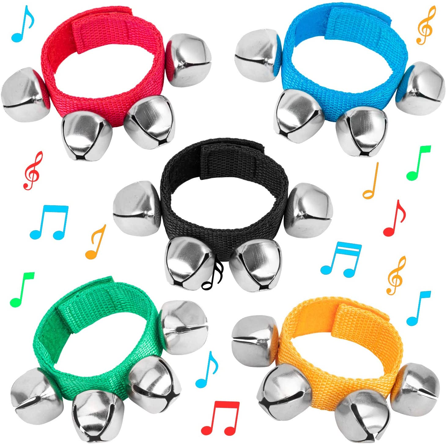 4-Bell Jingle Wrist Rattle Toy Ankle Musical Instrument Educational  Kid Toy