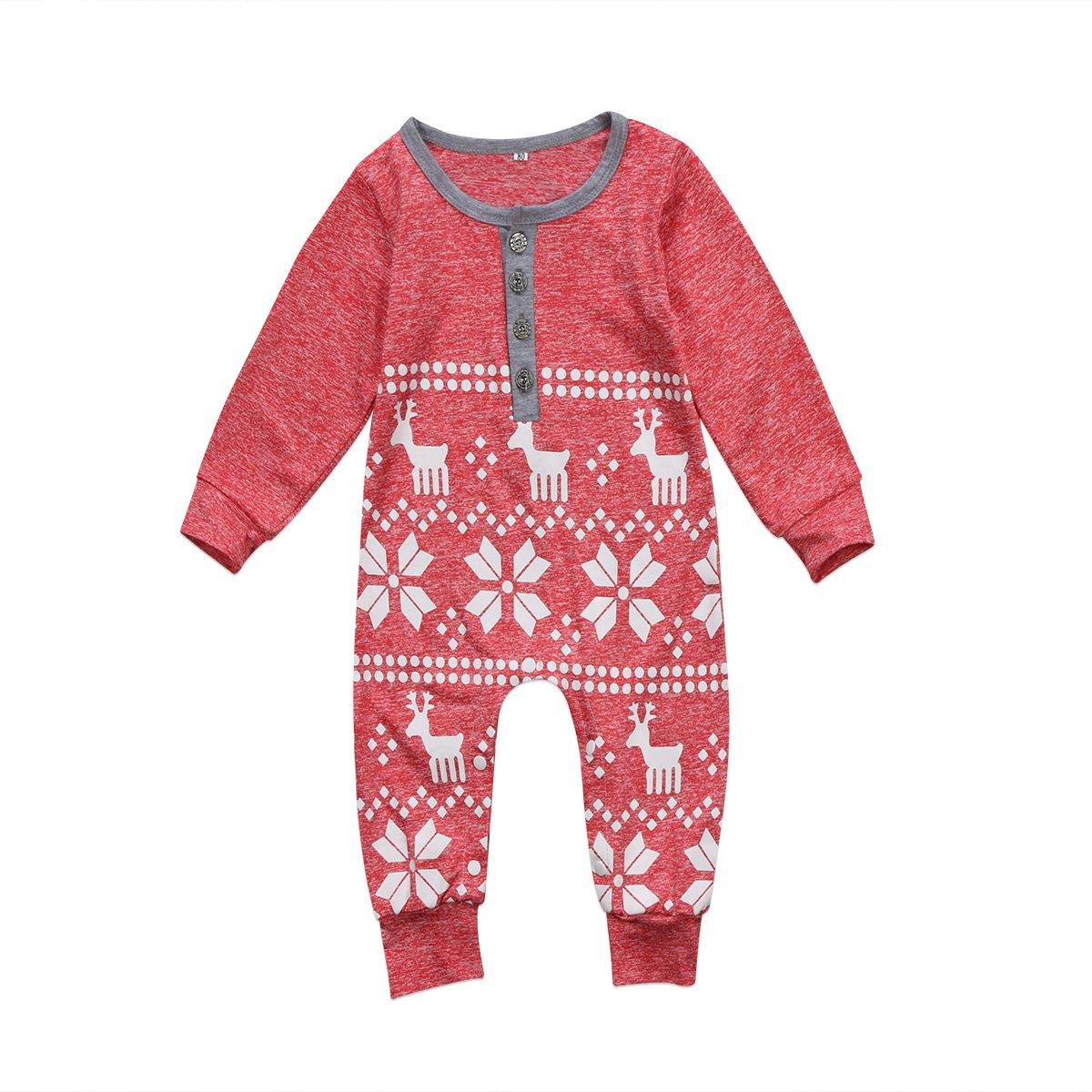 Curipeer Deer Pattern Newborn Infant Baby Christmas Romper Long Sleeve One-Piece Bodysuit