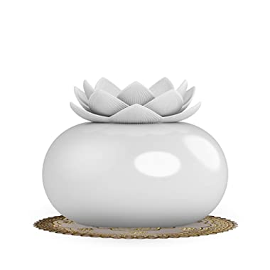 YJY Ceramic Aromatherapy Essential Oil Diffuser, Lotus Flower Humidifier Portable for Office, USB Auto Shut-Off Intermittent 8 Hours Work Air Purifier(White-White)
