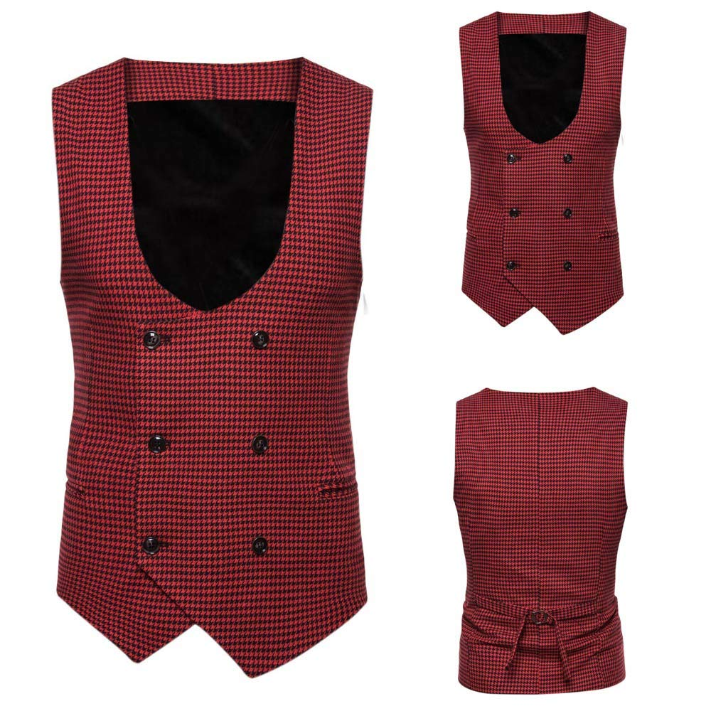 SMALLE ◕‿◕ Clearance,Men Plaid Button Casual Print Sleeveless Jacket Coat British Suit Vest Blouse by SMALLE (Image #5)