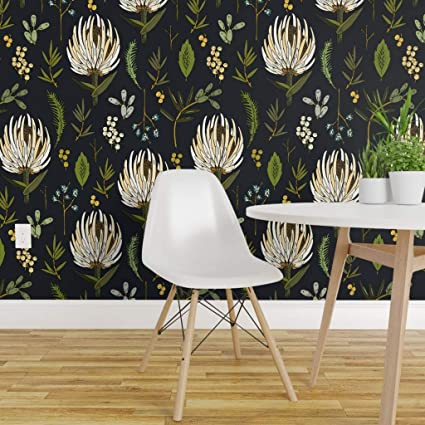 Spoonflower Pre Pasted Removable Wallpaper Protea Modern