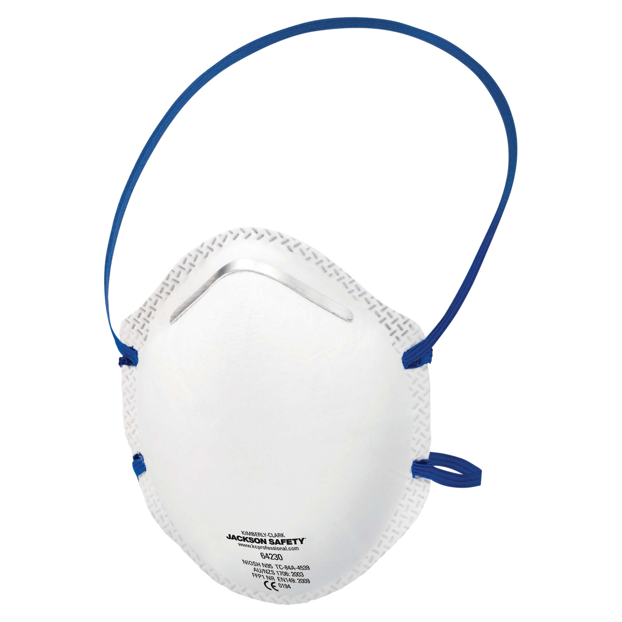 Jackson Safety R10 N95 Particulate Respirator (64230), No Valve, White with Blue Strap, 160 Respirators/Case, 20/Box, 8 Boxes