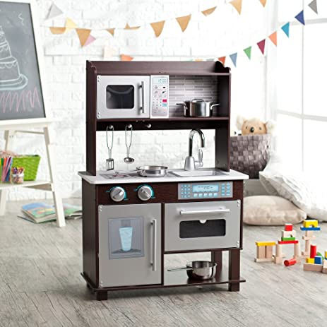 Ordinaire KidKraft Espresso Toddler Play Kitchen With Metal Accessory Set   53281