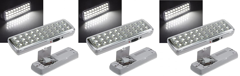 3 er Set LED Akku Notleuchte Notbeleuchtung Sicherheitsleuchte mit 30 LED's 21505 VL