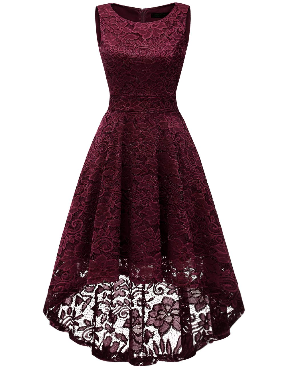 DRESSTELLS Women's Homecoming Vintage Floral Lace Hi-Lo Cocktail Formal Swing Dress Dress Burgundy S