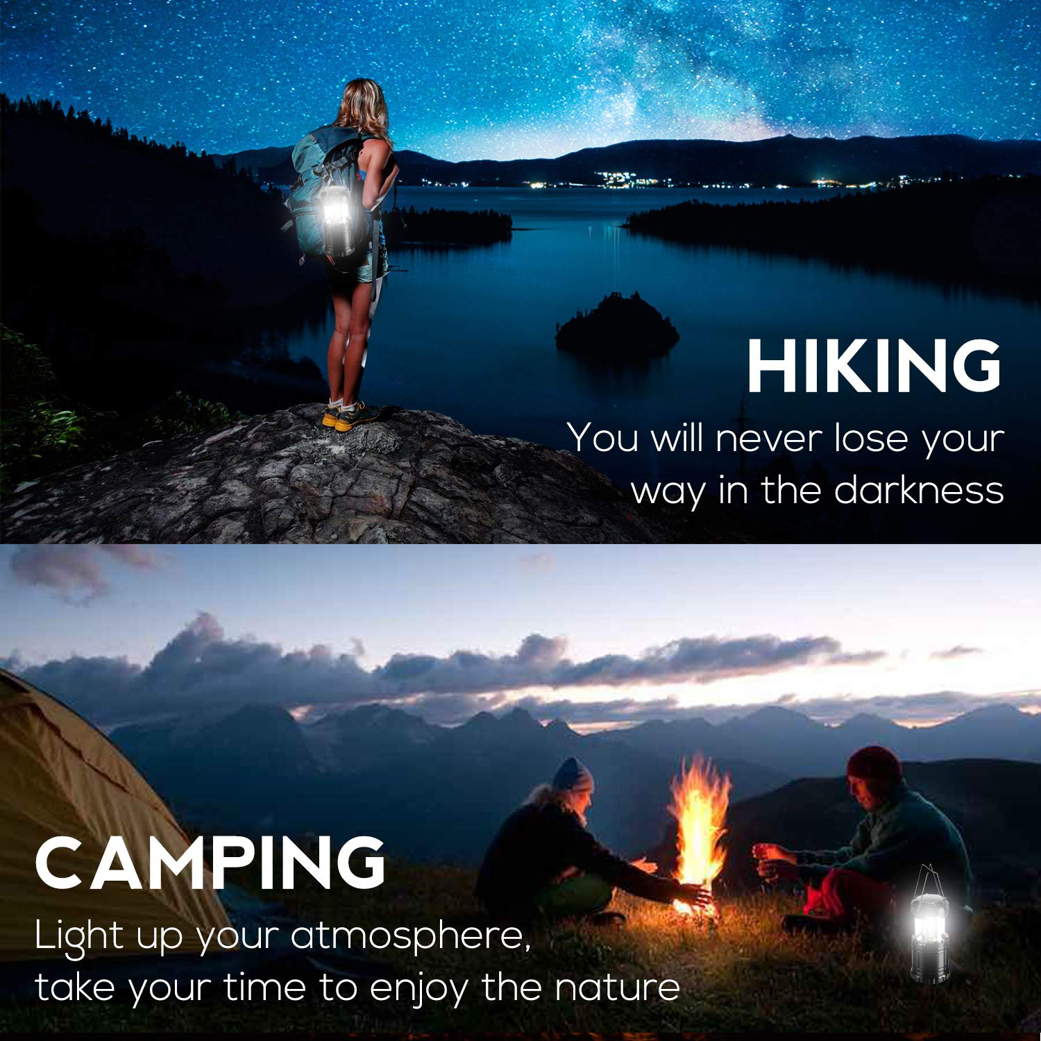 6 pack Gukos Portable LED Camping Lantern 3-Mode Flashlight Collapsible foldable Lamp for Outdoor Hiking Outages Emergency Hurricane Storms Backpacking 6-Pack