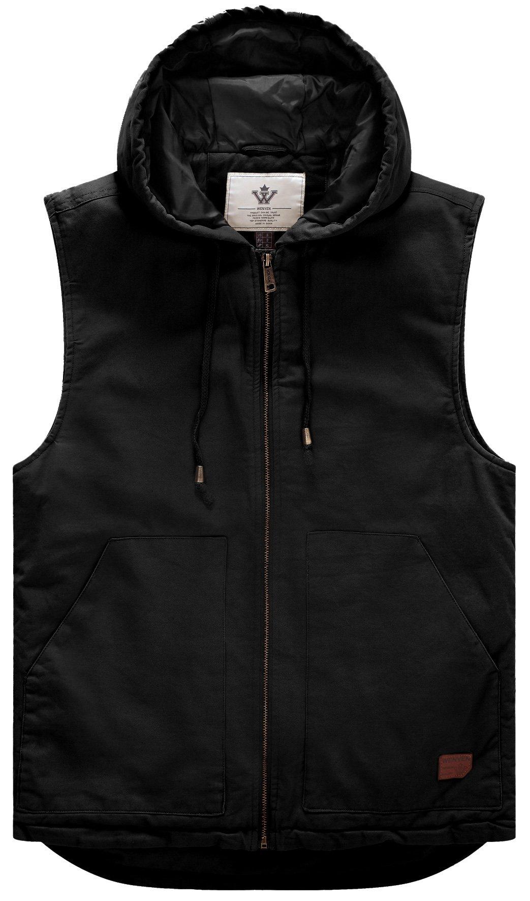 WenVen Men's Quilt Lined Mutil Pockets Vest(Black,Large)