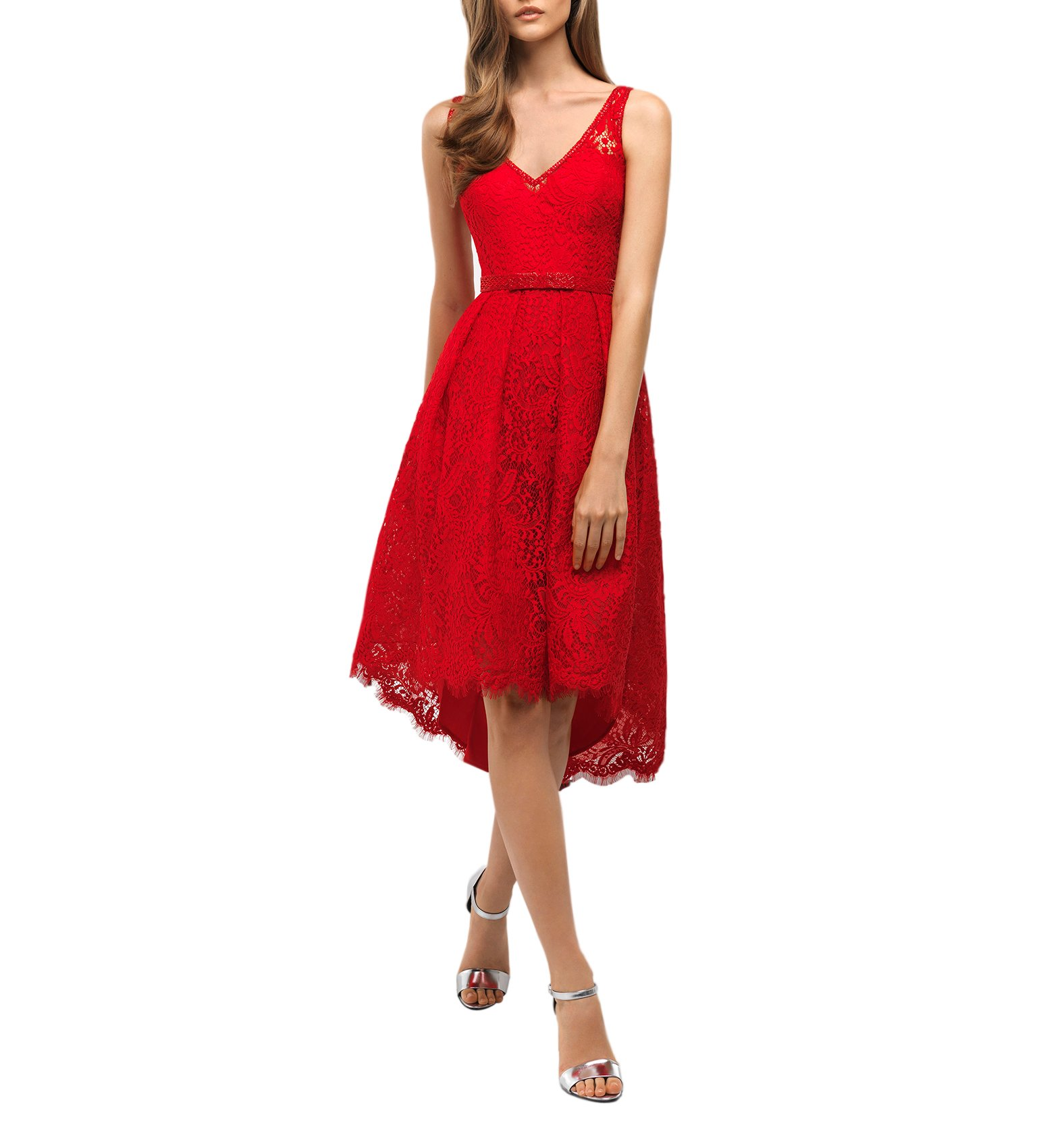 Pretydress Women's V-Neck Tulle Lace Red Evening Cocktail Party Gowns (Red, 26Plus)