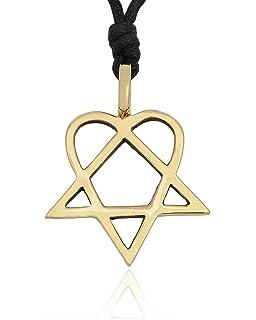 Him heartagram silver pewter charm necklace pendant jewelry him heartagram handmade brass necklace pendant jewelry aloadofball Choice Image