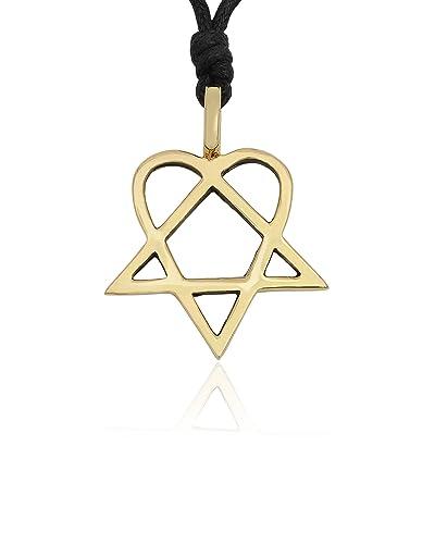 Him heartagram handmade brass necklace pendant jewelry amazon him heartagram handmade brass necklace pendant jewelry aloadofball Image collections