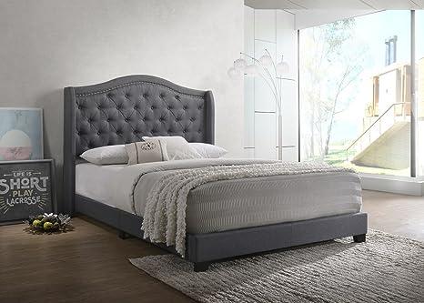 Amazon.com: Diseño de casa cama tapizada Mikasa, Gris oscuro ...