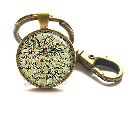 Amazon.com: Llavero con mapa de París, mapa de París, mapa ...