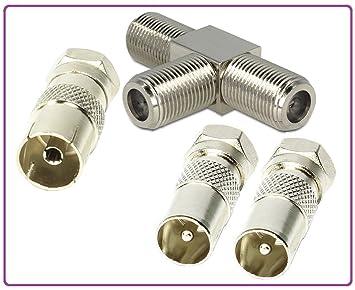 5 x Winkeladapter Metall Koax-Stecker Kupplung Koaxial Antennenstecker