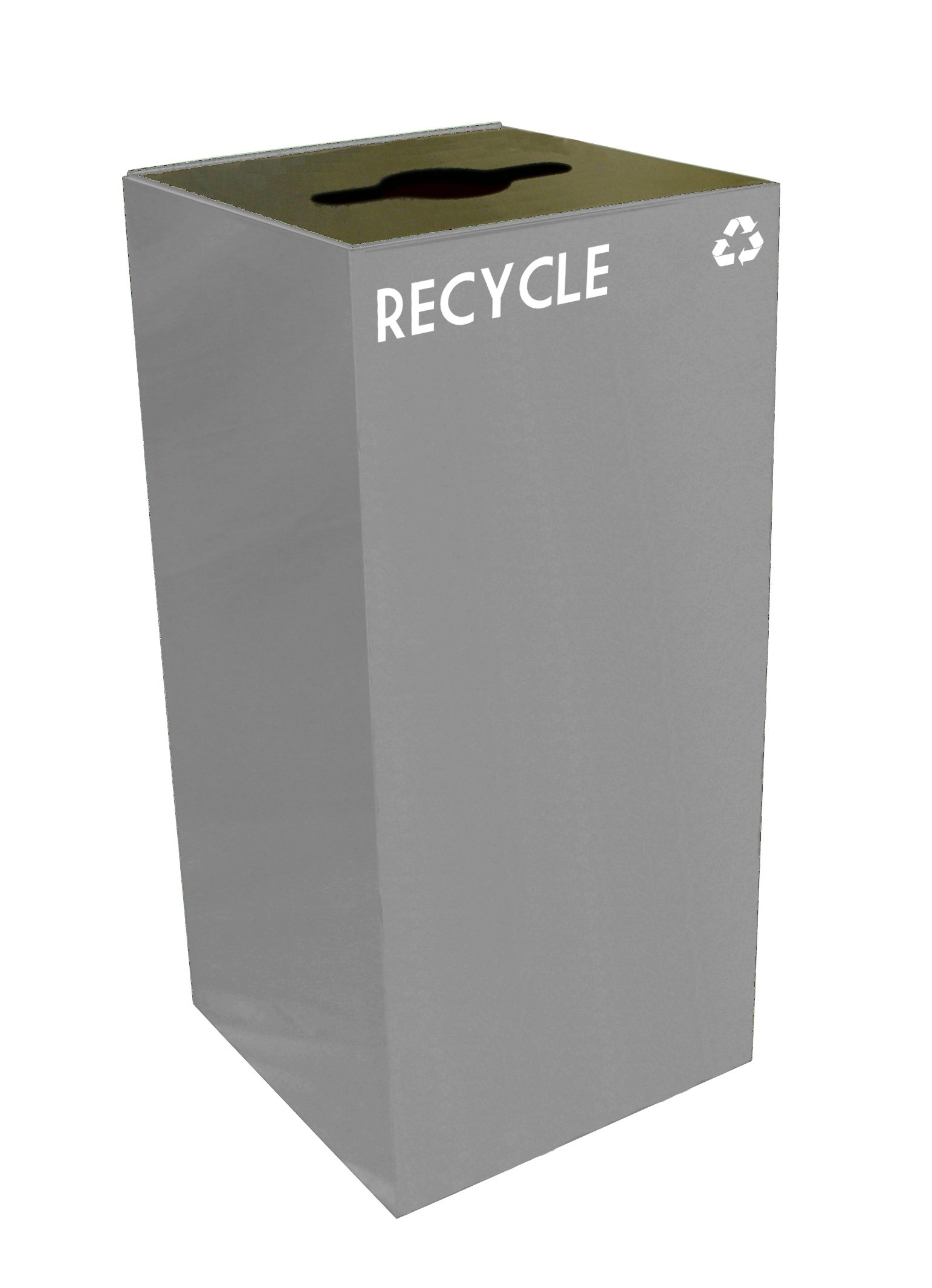 Witt Industries 32GC04-SL GeoCube Recycling Receptacle with Combination Slot/Round Opening, Steel, 32 gal, Slate by Witt Industries
