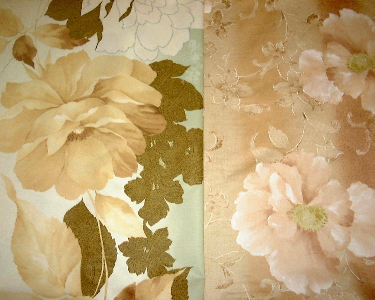 ダニを通さない高密度織り生地 柄込み 花柄プリントロング掛カバー 230x230cm キング 無地グリーン B00L37J1J0  無地グリーン