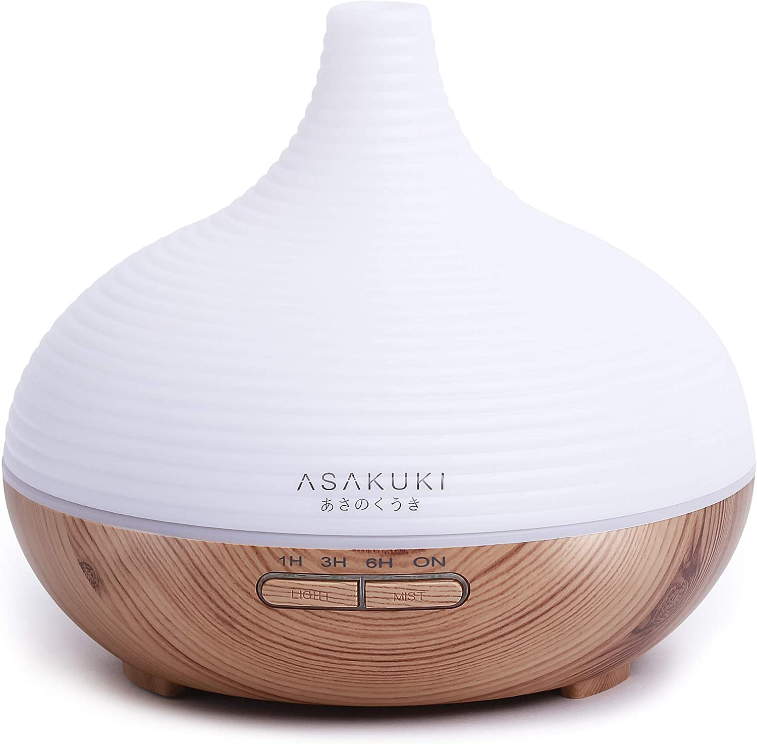 ASAKUKI 300ml Essential Oil Diffuser, Premium 5 In 1 Ultrasonic Aromatherapy Scented Oil Diffuser Vaporizer Humidifier, Timer and Waterless Auto Off,