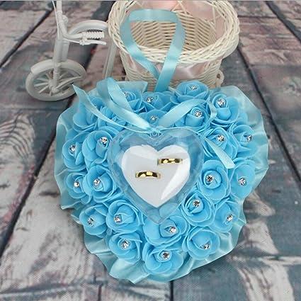 bpblgf Punta Forma de Corazón Rose Arco Anillo de Caja Cojín, Azul, 17 *