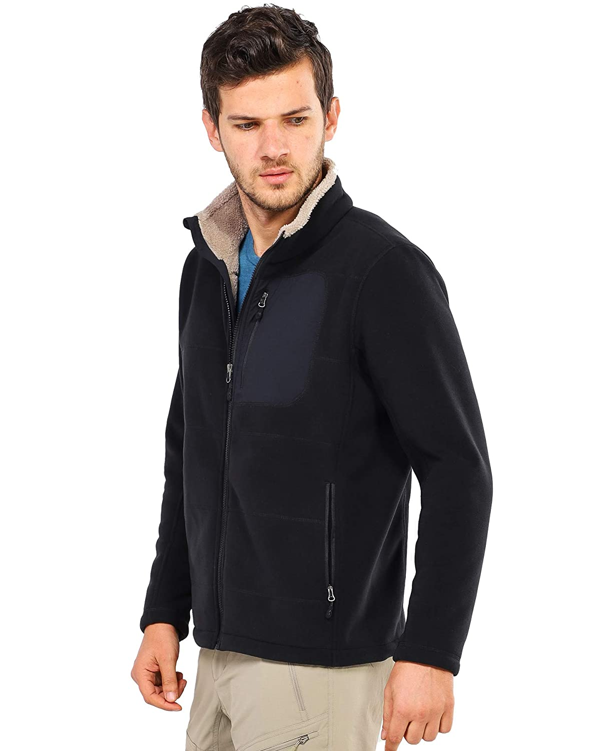 No-Pilling Black MIER Mens Full-Zip Heavyweight Fleece Jacket Thermal Tactical Fleece Outerwear with 5 Pockets