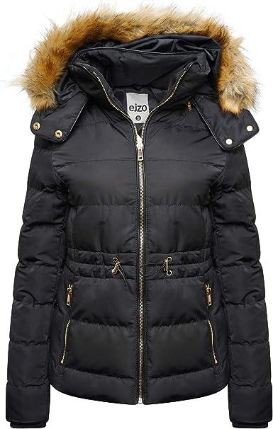 Women Hoodie Padded Puffer Fur Toggle Zip Winter Jacket Coat UK Size 6 to 20