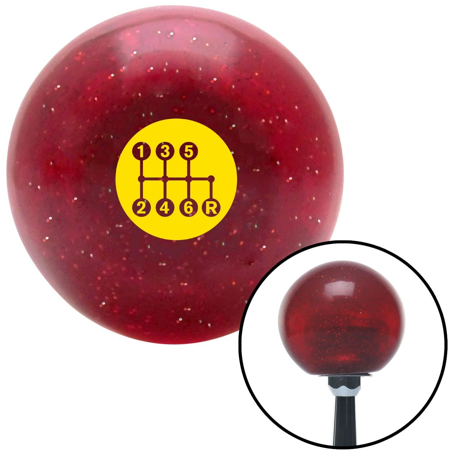 Yellow 6 Speed Shift Pattern - Dots 41 Red Metal Flake with M16 x 1.5 Insert American Shifter 282770 Shift Knob