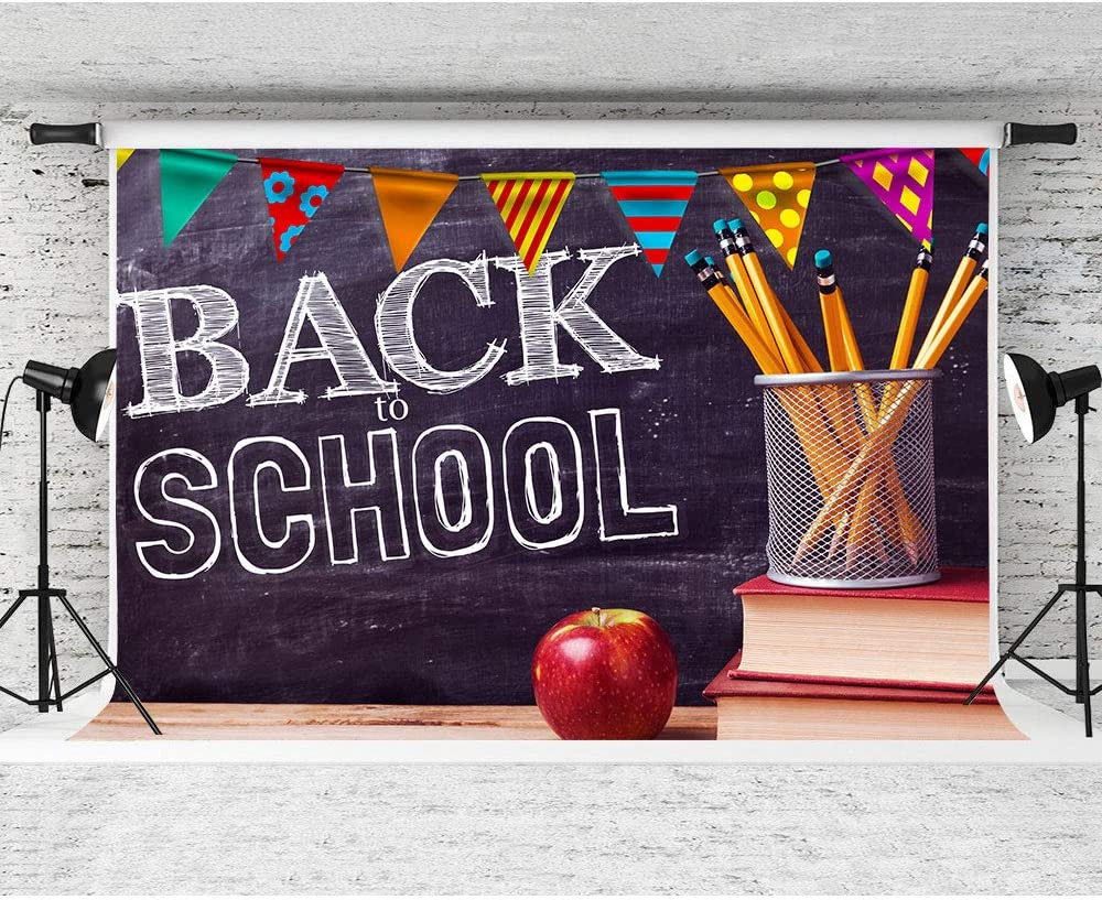 FHZON 10x7ft Back to School Backdrop The Blackboard The Desk and Book Photography Background for School Photo Studio Props Banner ZYFH0448