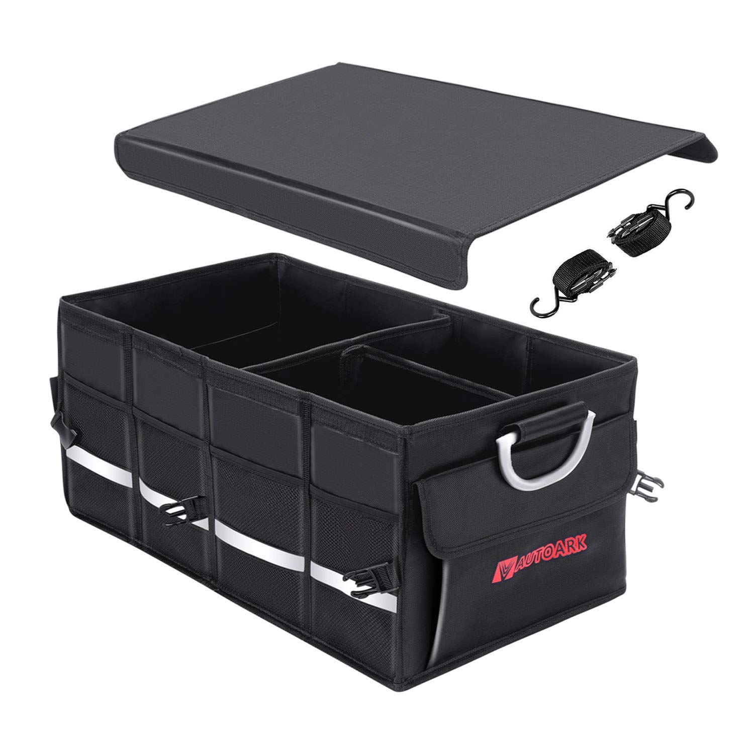 Autoark Multipurpose Car SUV Trunk Organizer with Cover and Straps,Durable Collapsible Adjustable Compartments Cargo Storage,AK-132