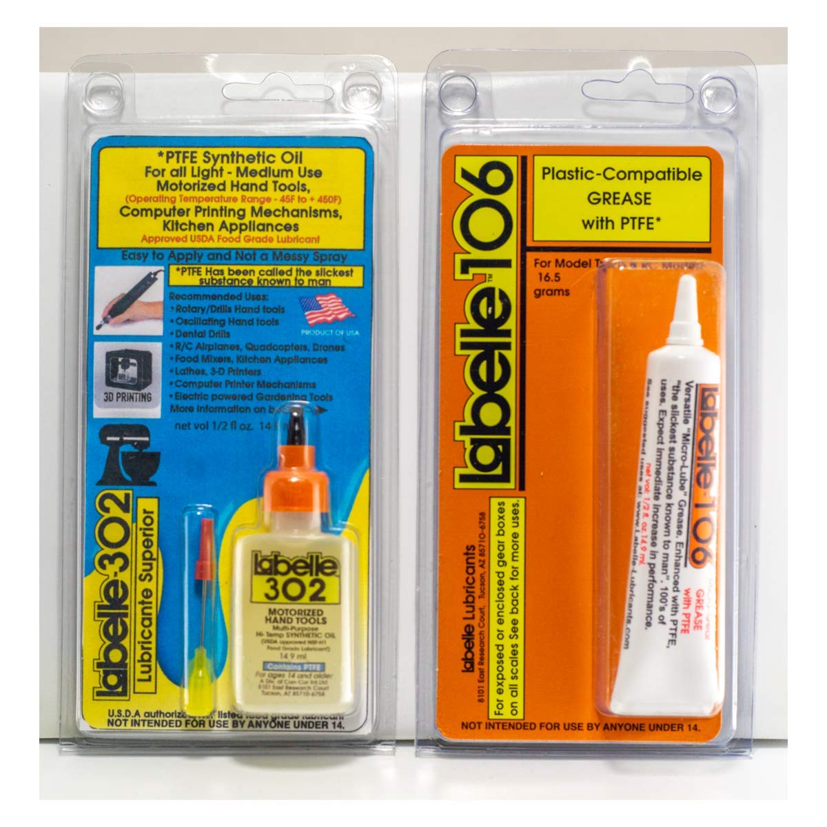 Kitchen Grade Lubricants, USDA Food Grade Approved,2-pak of Oil & Grease , home and commercial kitchen appliances-& All-around household use. Hi Heat Range, compatible with all plastic materials.
