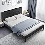 Full Bed Frame with Adjustable Headboard, Faux Leather Upholstered Platform Bed Frame, Full Size Bed Frame No Box Spring Need