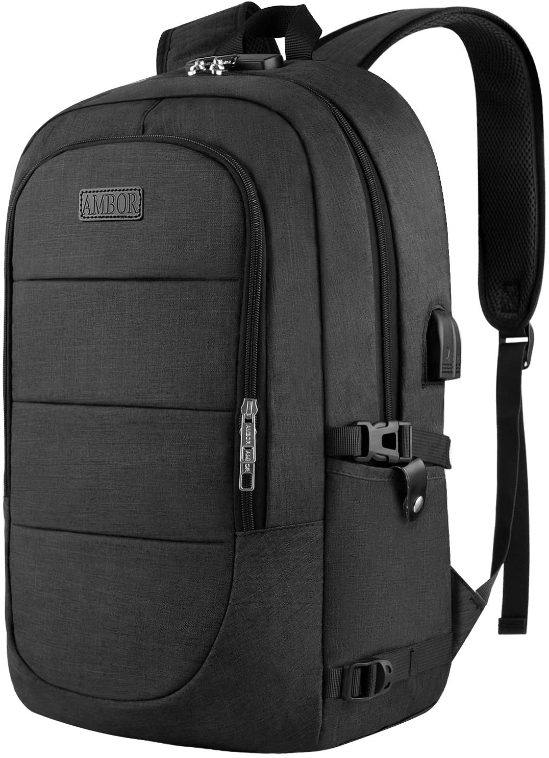 "Travel Laptop Backpack, Anti Theft Business Laptop Backpack with USB Charging Port and Headphone Interface fits Under 17.3"" Laptop, for College Student Work Men & Women"